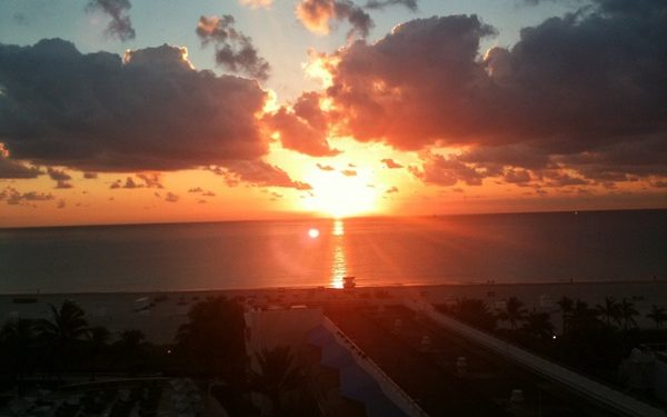 The sunrising. This is the view of it from our room. Adria took it on her iPhone. Amazing.