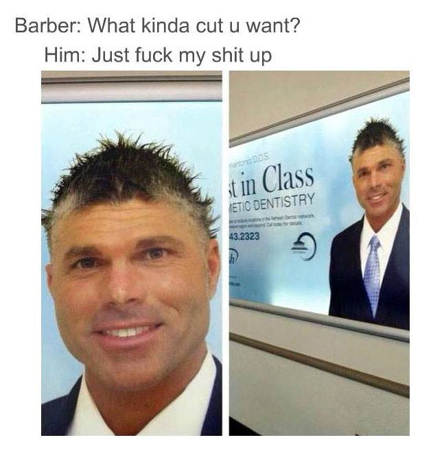 Dentist with bad hair